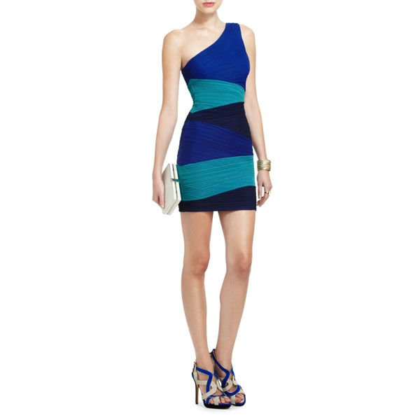 Mixed Color Erotic Halter Party Dress For Sexy Club