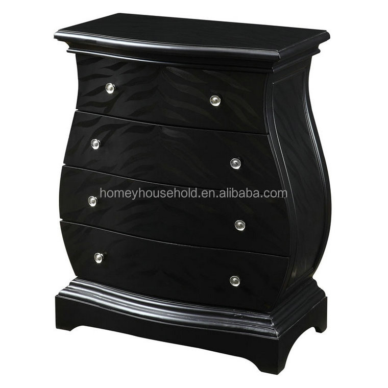 Home furniture shabby chic style black veneer contemporary wood chest of drawer