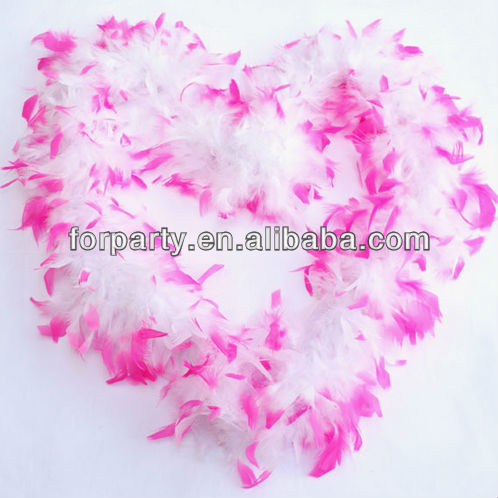 CG-FB035 Fantastically fluffy feather boa in white feathers with dyed pink tips