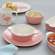 Flamingo Ceramic Tableware Set Creative Ceramic Cup Cartoon Square <strong>Plate</strong>