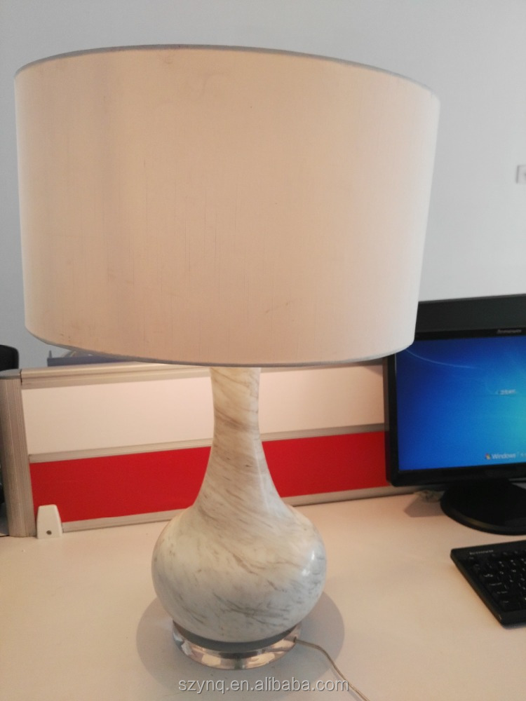 Arylic base white jade stone table lamp