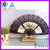 Bird Pattern Classical Hand Painted Shadow Carved Spanish Wood Fan Decoratived Gift Folding Fan