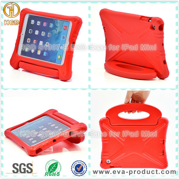 Child Proof EVA Foam Rotary Standing Case for iPad Mini Red