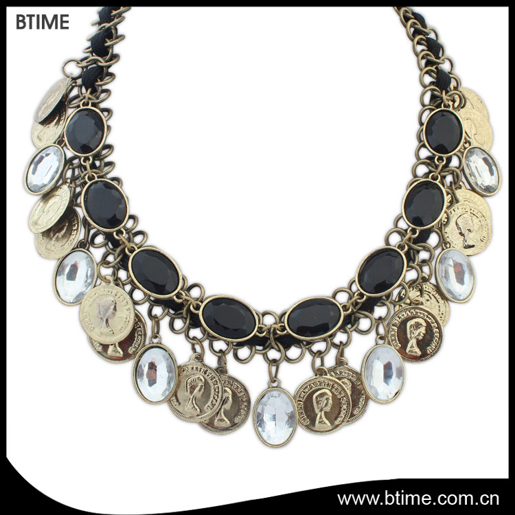 New bohemian statement alloy chain necklaces vintage colorful for Women Style