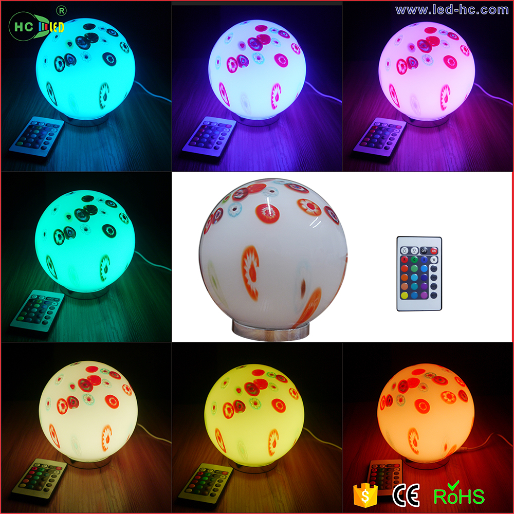 indoor home decoration glass light 16 Colour Changing innovative products Battery Operated LED glass ball table lamp with remote