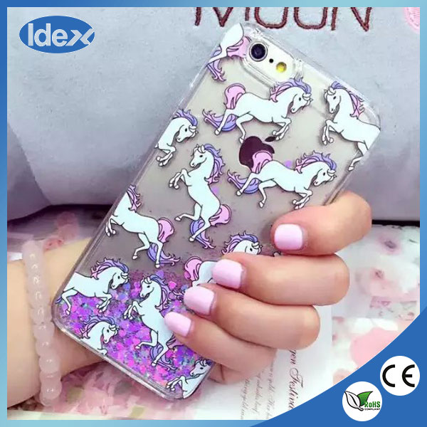 2016 New Fashion PC phone case for iPhone 6 case with Unicorn quicksand case