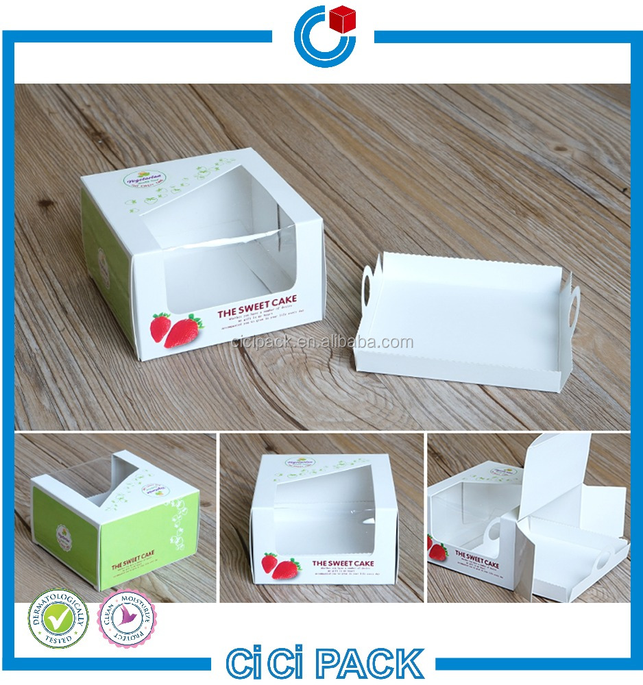 Christmas paper food gift packaging Box christmas paper cake box with transparent window