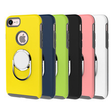 Luxury Coque Fundas Silicone Phone Cases with 360 Rotating Metal Ring Grip Cover for iphone 6/6s/7 Plus