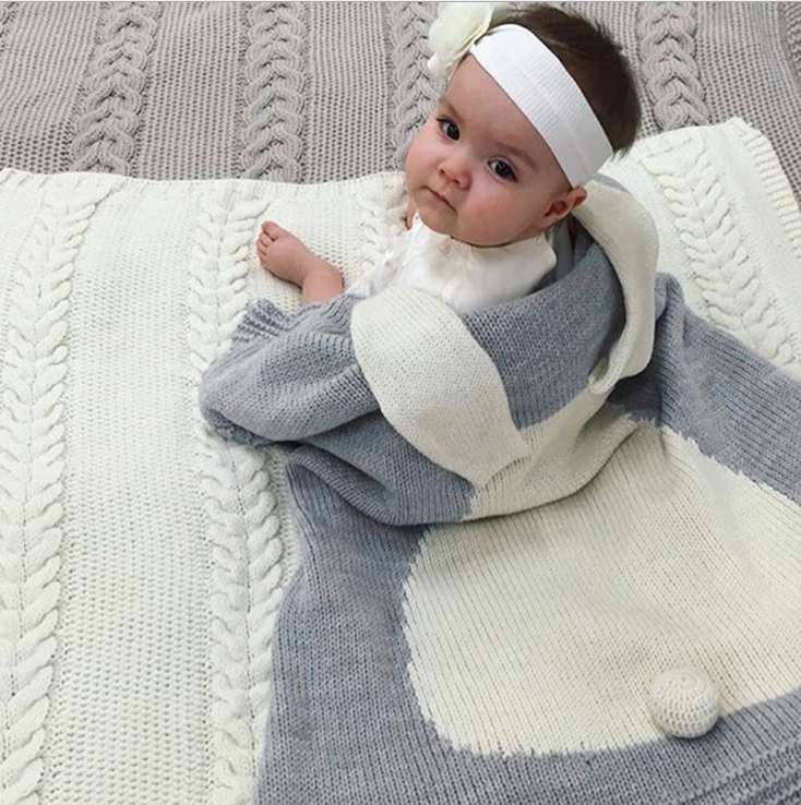 X60605A New Hot Baby Toddler Bedding Rabbit Ear Swaddling Knitted Baby Blanket Wrap Soft Blankets