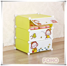 modern 3 cartoon door plastic small shoe rack for kids FH-AW0634-3