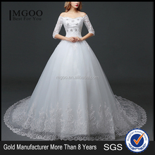 MGOO Elegant Old Castle Long Tail Wedding Dress Lao White Embroidery Off Shoulder 3/4 Long Sleeves Dress