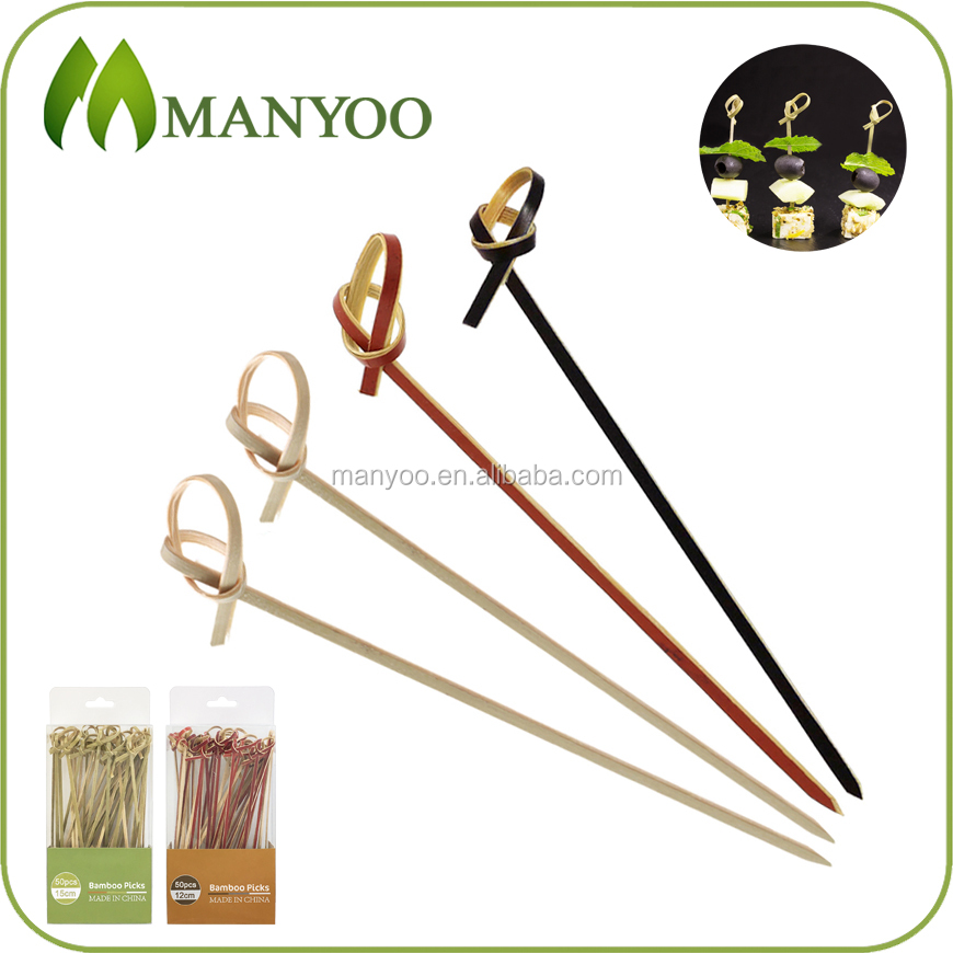2016 hot selling premium quality knotted bamboo skewer
