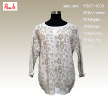 20%Viscose 20%Nylon 18%Wool 12%Acrylic 3%Lurex Beautiful Jacquard Sweater