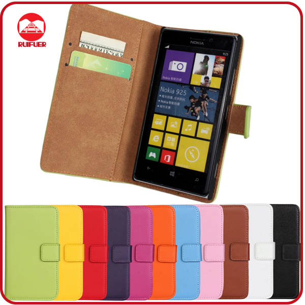 RF Manufacturer Book Style Card Holder Stand Wallet Flip Leather Case for Nokia Lumia 925 Flip Cover