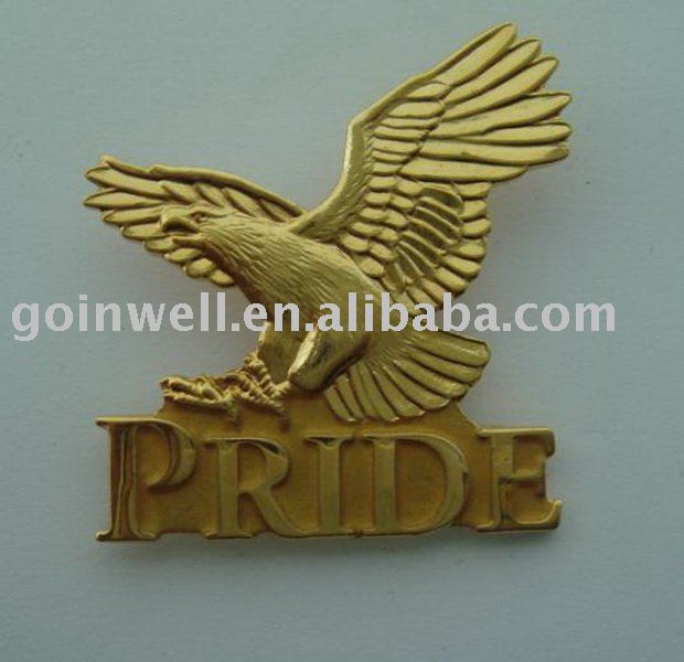 custom eagle animal design brass two-tone pin