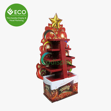 Retail Pos Christmas Tree Cardboard Pop Display With Four Trays, Pop Customer Display, Cardboard Floor Displays For Candy