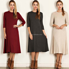 OEM Online Shopping Women Dress 3/4 Sleeves Scoop Neck Solid Knit Jersey Midi Dress New Fashion Ladies One Piece Dress