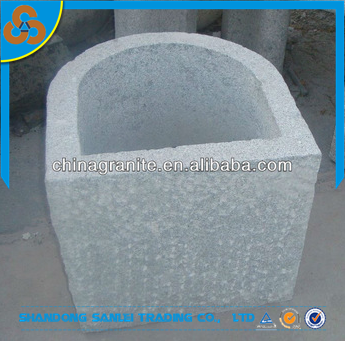 garden decorative natural stone half round flower pot planter for sale