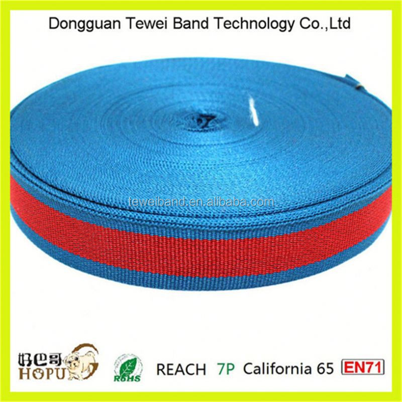 Customized polyester washed web belt striped webbing