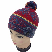 Promotional custom embroidery polyester ski cuff beanie hat