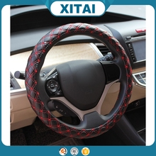 Best price Xitai car accessories two color leather steering wheel cover art.-no. 178