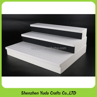Painting wood display stands curved 3 tiers thick MDF shelves rack for sunglasses and jewelry