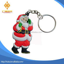 custom soft pvc rubber Santa Claus Christmas day gift key chain keychain