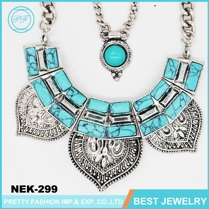 Jewelry Manufacturer Anti Silver Alloy Turquoise Statement Necklace