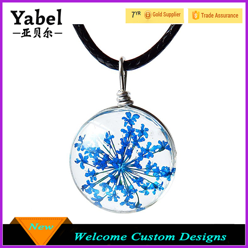 Fashion Accessories Round Surface Dried Pressed Real Flower Transparent Resin Crystal Pendant Necklace Diy Handmade Necklace