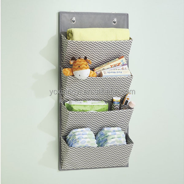 Hanging Steel Wall Fabic Collapsible Mail Sorter Magazine Holder Multi-purpose Organizer Office Storage with Key Hooks