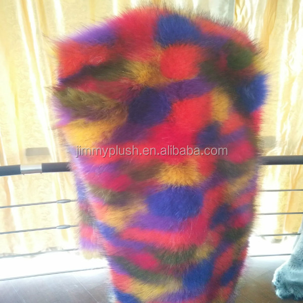 wholesale colorful five color jacquard and tip-dyed imitation fox fur fake fox fur fabric faux fur
