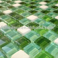 8mm Mixe color glass and stone mosaic