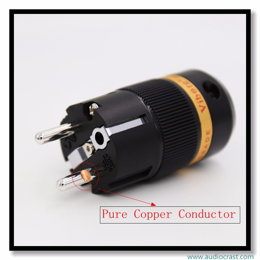 OEM Pure copper Rhodium Plated Schuko male Power Plug +Female cable Connector ,DIY Power cable