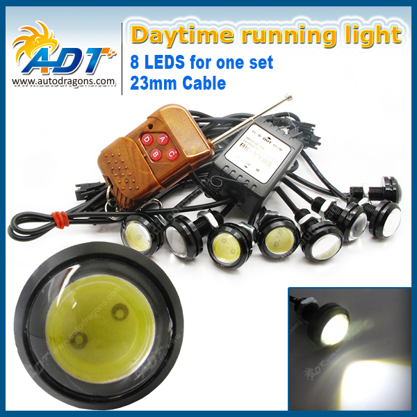 Super Brightness Eagle Eyes LED 23mm Black DRL Daytime Running Lights Working Waterproof