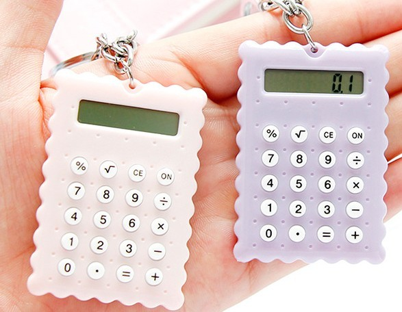 cute mini super thin cookies shape calculator key chain
