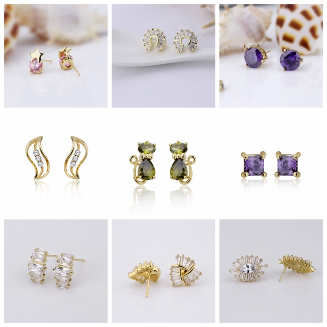 FOXI gold plated jewelry alibaba wholesale new stud earrings