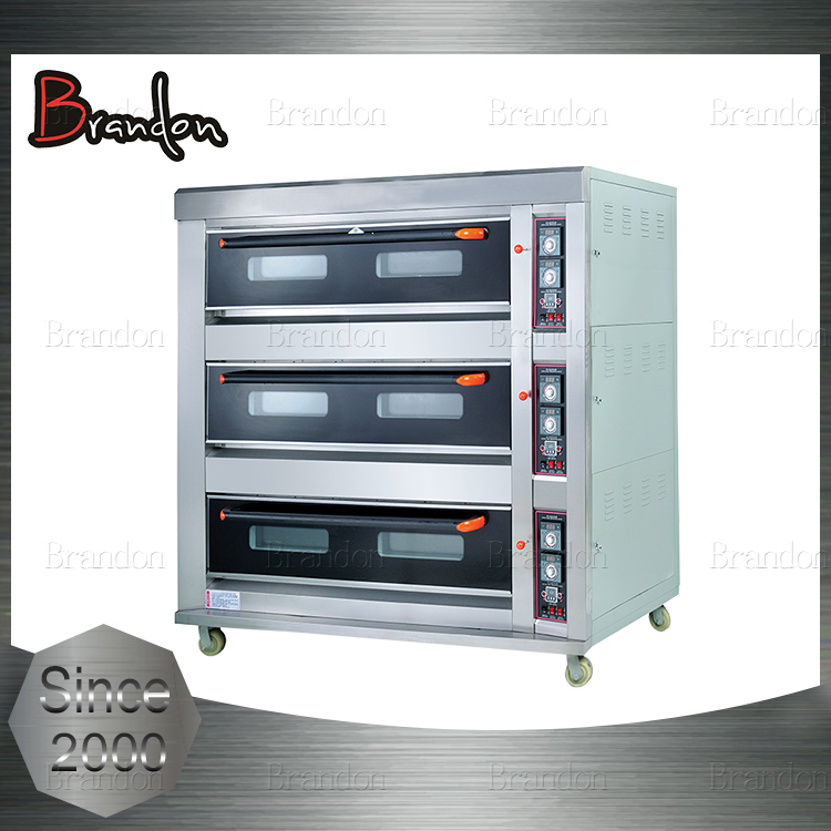 Brandon top quality easy operation gas pizza 3 deck oven