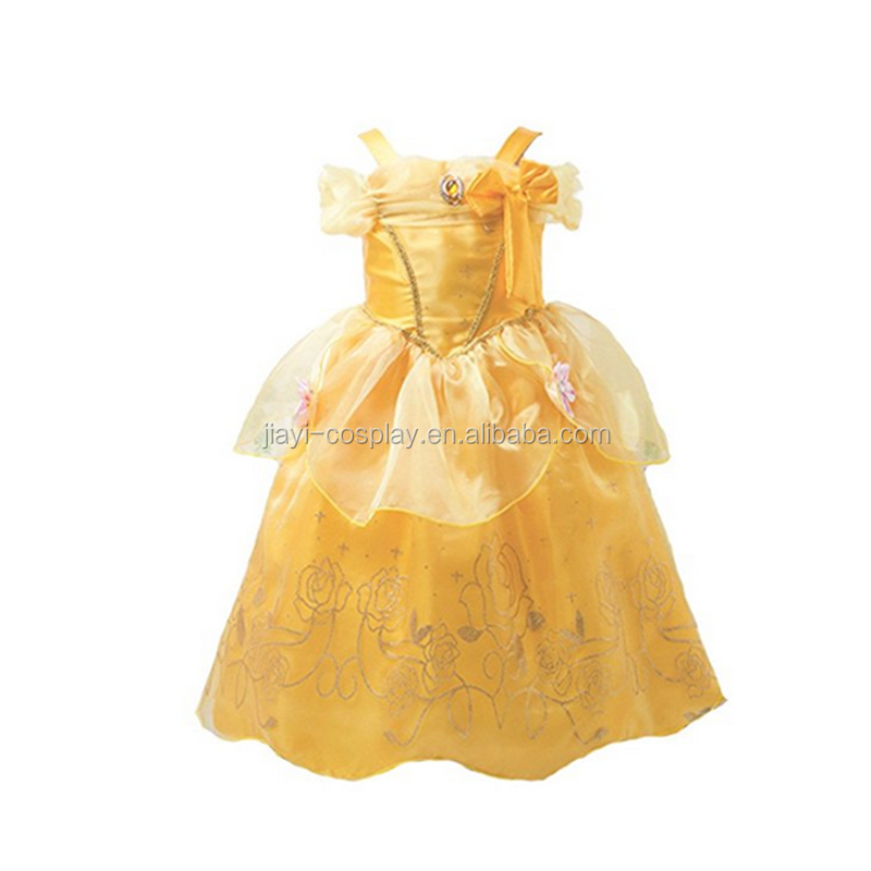 Kids princess belle fancy dress cosplay costume