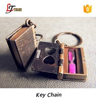 wholesale newest promotion gifts cheap hourglass metal book shaped keychain