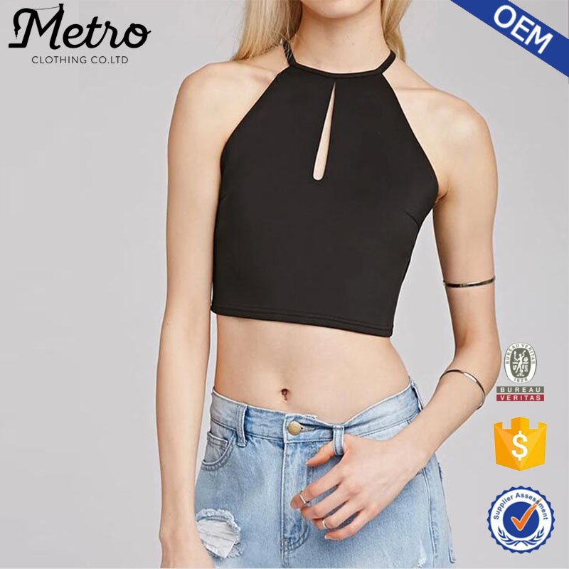 Sexy Ladies Summer Hot Wholesale 100% Polyester Black Crop Top
