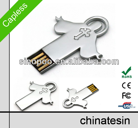 classic metal USB memory , mini cross pendrive with custom logo