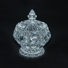 new arrived crystal glass candy sugar bowl with lid cover