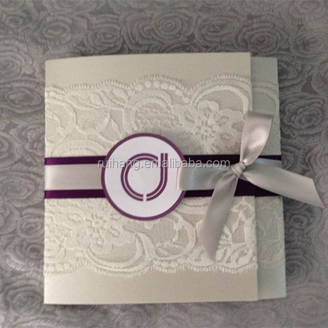 Hot sale elegant personalized kraft paper lace wedding for Wedding invitation paper for sale