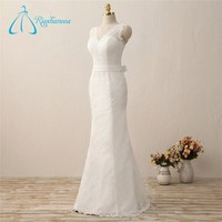 V-Neck Floor-Length Trumpet Simple Wedding dresses