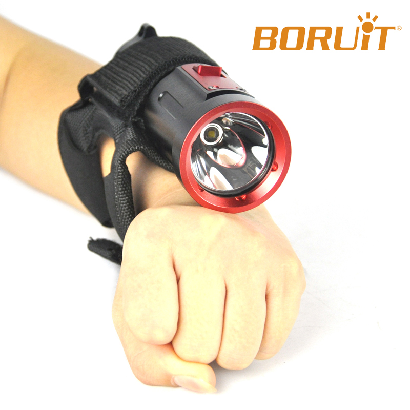 Good quality Boruit Wrist Band Diving Flashlight 50m Underwater Torch W106