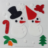 OEM Customized No Glue Removable Easily Peel off Gel Gem Glass Santa Claus Christmas Window Sticker Snowman Fridge Decoration
