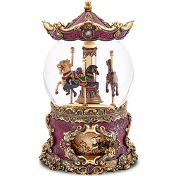 Hot sale custom purple wedding favors carousel resin snow globe souvenir