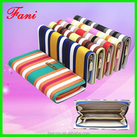 Contrast color design luxury style signle zipper PU leather wallet for women