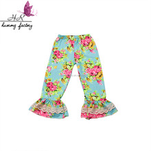New Design Children Ruffle Botton Long Floral Printed Design Picture Baby Girl Kids Icing Harem Pants
