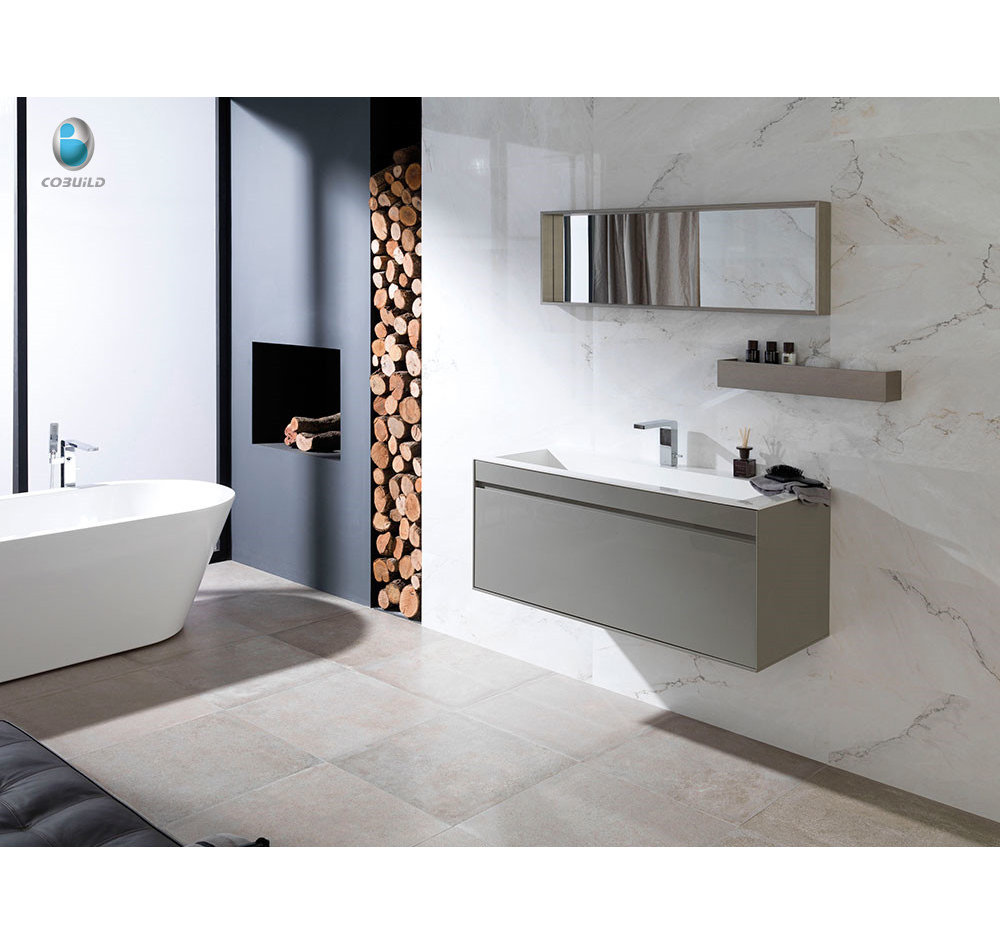 Modern design laminate bathroom vanity top /wall-mounted lowes bathroom cabinet with stone sink
